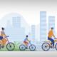 Grafik: Radfahrende Familie (Copyright: Pch.Vector - via freepik)