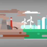 Grafik, die unterschiedliche Kraftwerkarten zeigt - erneuerbare Energien wie fossile (Copyright: Freepik)
