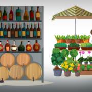 Marktstände (Copyright: macrovector via Freepik)